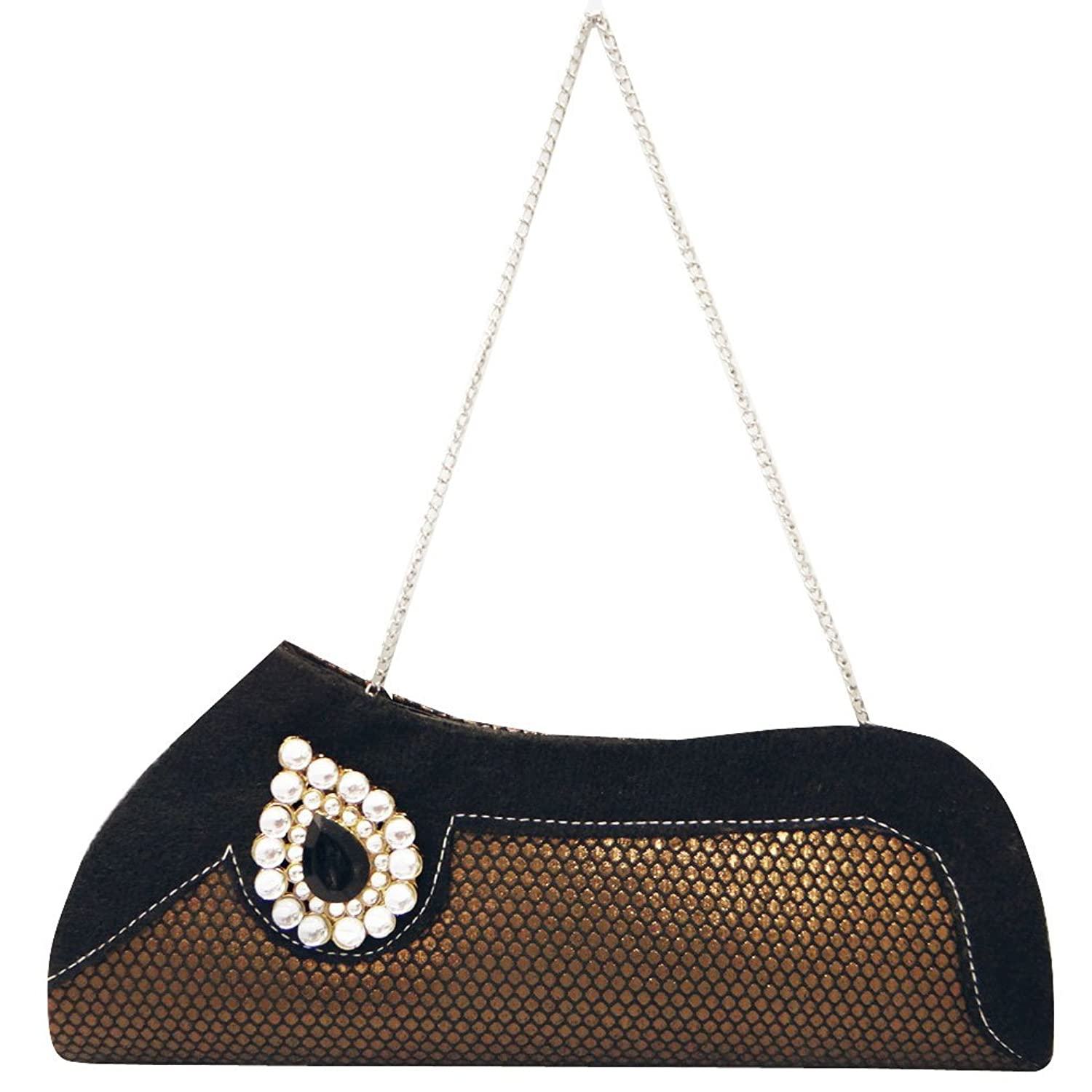 Beaded Black Clutch Faux Stone Prom Party Purse Indian Brocade Women Handbag