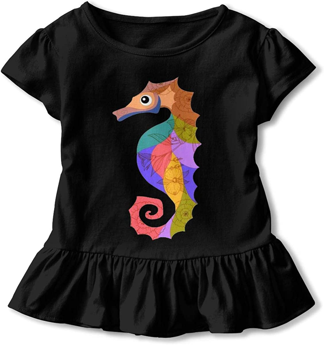 Not Available Colorful Seahorse Shirt Baby Girls Flounced Cotton Basic Shirt for 2-6 Years Old Baby