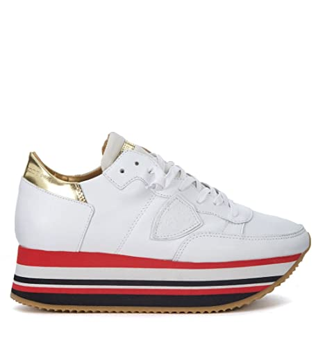 241058a11cd3 Philippe Model Women s Eiffel White and Golden Leather Sneaker   Amazon.co.uk  Shoes   Bags
