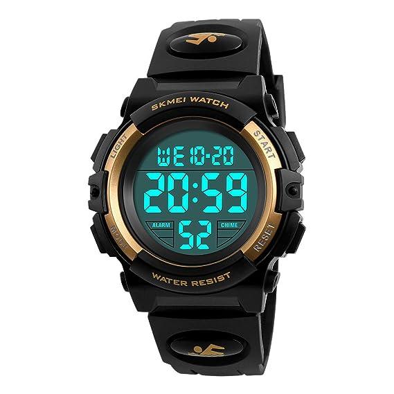 Relojes Deportivos para Niños Niña Juvenil Digitales LED Redondos Caucho 5 ATM Water Resistant Alarma Deportivo Futbol: Amazon.es: Relojes
