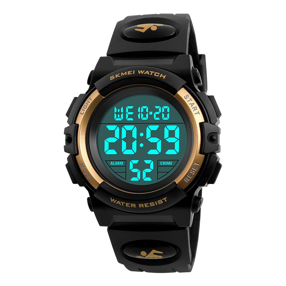 Mico Boys Digital Watch for Teen Boys, Girl Watch Toys for 6-13 Year Old Boy Girls Gift for Teen Boys Age 9-15 Present Waterproof Led Watches (B-golden)