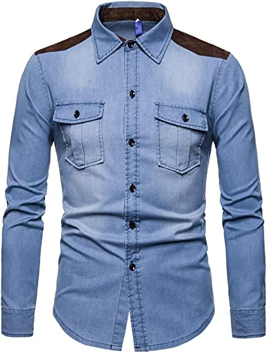Camisa de Manga Larga de Mezclilla para Hombres Algodón Jean Slim Fit Wash Parche Vintage Suede Western Casual Shirt Top: Amazon.es: Ropa y accesorios