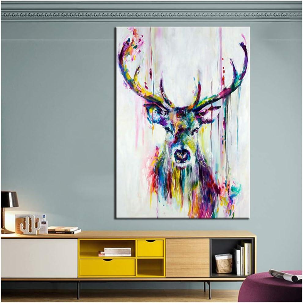YANGDINGYAO Pintura de Lienzo Pintura Animal Colorido Ciervo Lienzo Cuadros de Pared para Sala de Estar Dormitorio de Oficina -60x90cm Sin Marco