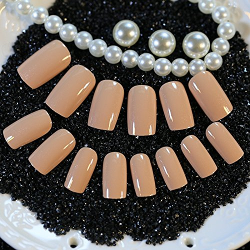 Full Cover Fake Nails 24pcs/set Reflective Smooth Netural Pink Smoke Simple Design Flat Head