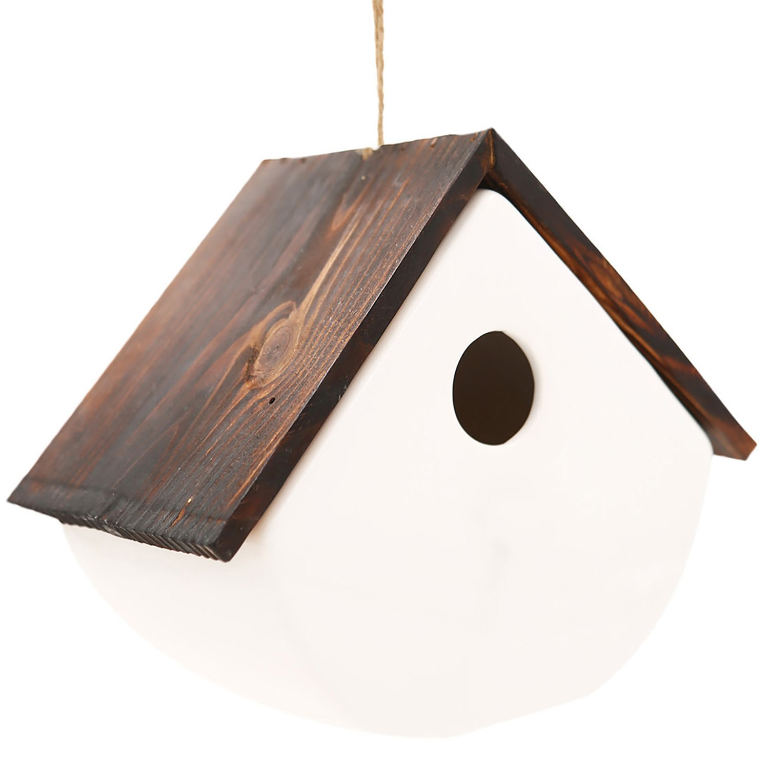CEDAR HOME Hanging Bird House Outdoor Garden Patio Decorative Resin Pet Cottage White Ceramic Chalet Birdhouse