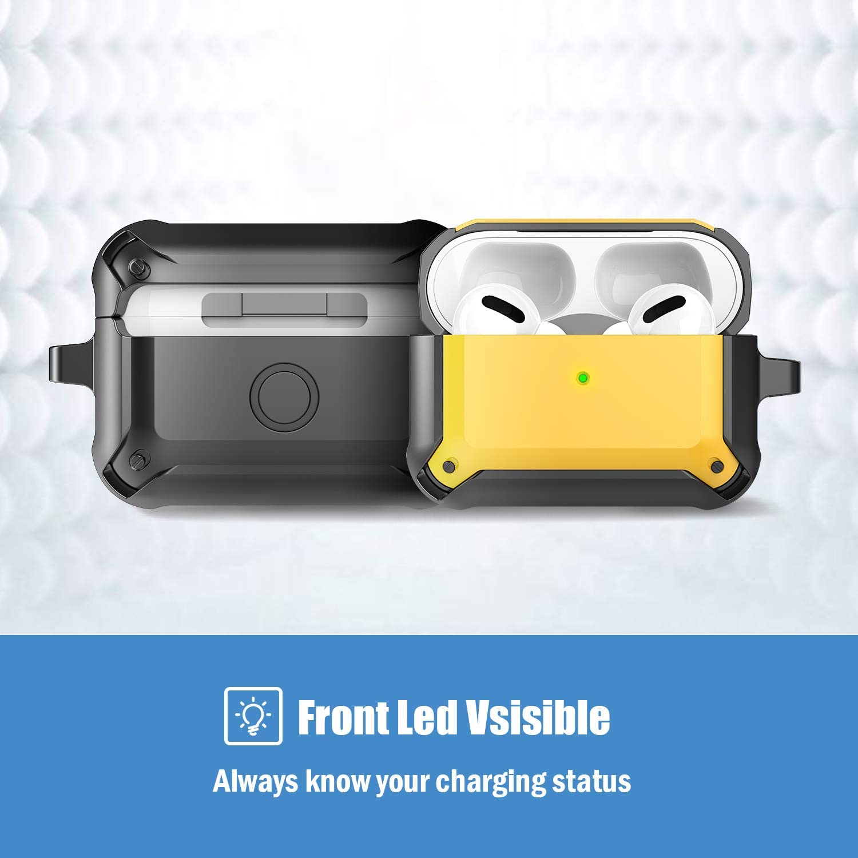 -Negro//Amarillo LED Frontal Visible ProCase Funda Protectora para AirPods Pro 2019 Carcasa de TPU Resistente Funda con Llavero para 3./ª Generaci/ón AirPods Pro