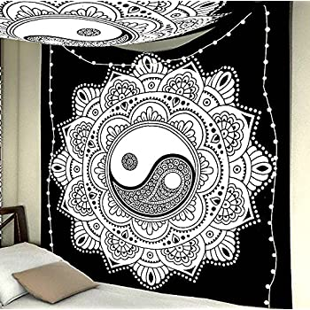 Exclusive Black And White Tapestry Yin Yang Wall Hanging By JaipurHandloom Mandala Tapestries Indian Traditional Cotton Printed Bohemian Hippie