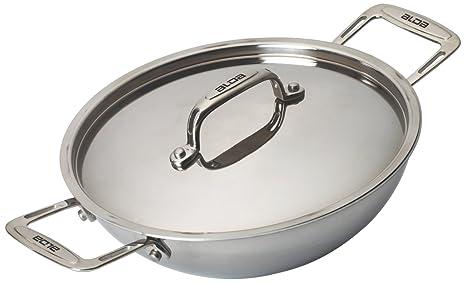 Alda Tri Ply Stainless Steel Wok Pan or Kadhai with Lid, 20 cm, 1-Piece, Silver Kadhai & Woks at amazon