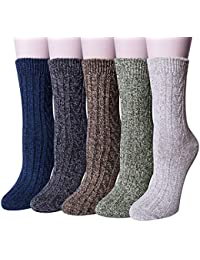 Womens 5 Pairs Winter Warm Vintage Style Thick Knit Wool...