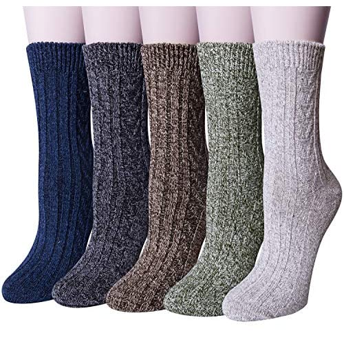 Loritta 5 Pairs Womens Vintage Style Winter Warm Thick Knit Wool Cozy Crew