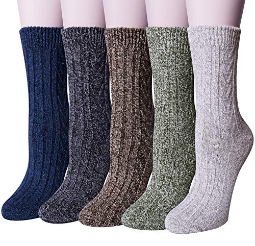 (Loritta 5 Pairs Womens Wool Socks Winter Warm Soft Knit Vintage Casual Crew Socks)