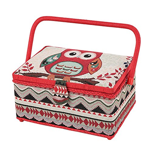 SAXTX Owl Sewing Baskets with Legs Included 99Pcs Sewing Accessories Wooden Large Sewing Basket Organizer with Compartments  12 x 9 x 6.5 inches