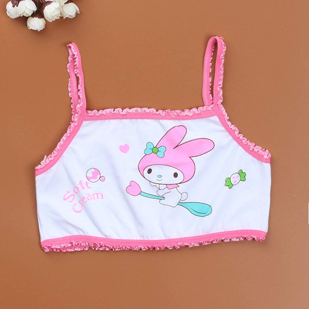 sayletre 8-13 Years Young Girls Cotton Sports Training Bras Puberty Children Soft Breathable Underwear Teenage Kids Crop Vest Tops Clothing Cartoon Animals
