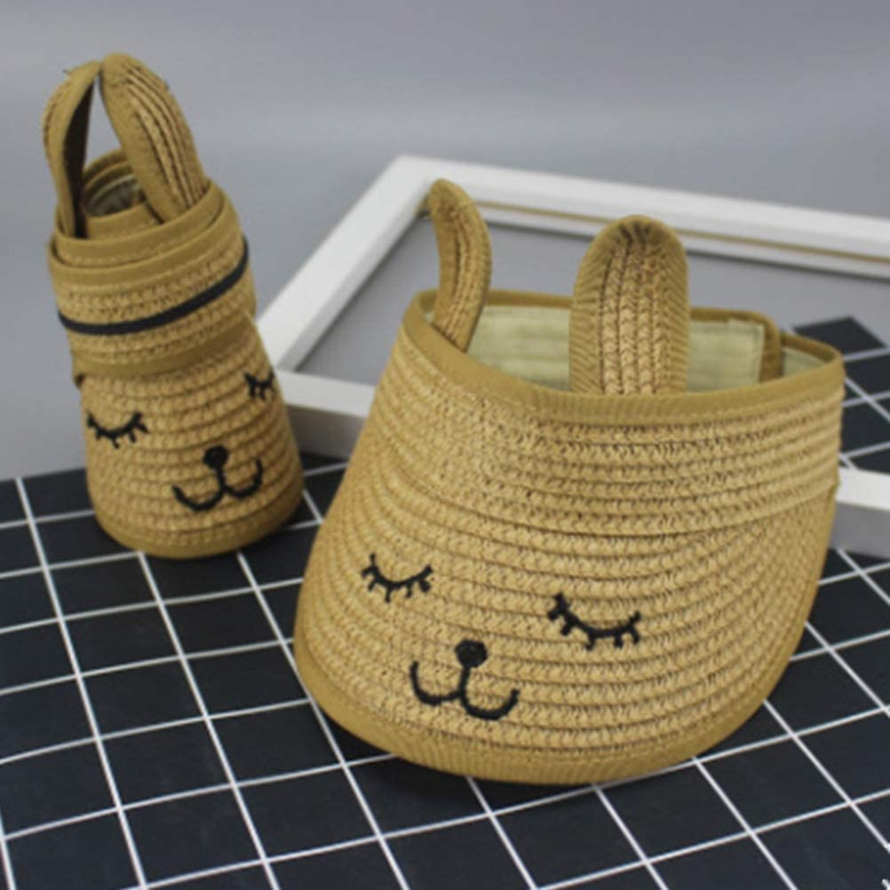 MAOZIJIE Kids Summer Cat Empty Top Adjustable Sunscreen Cap Sunhat for Fishing Camping Hiking Kids