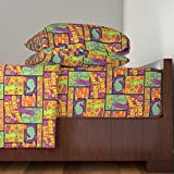 Roostery Squid 4pc Sheet Set Squid Attack! (Neon Colorway) by Jennartdesigns Queen Sheet Set made with