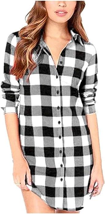 Camisas A Cuadros para Damas Camisa Manga Larga con Cuello Retro En V Camisa De: Amazon.es: Ropa y accesorios