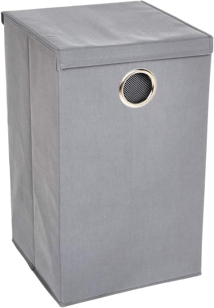 AmazonBasics Collapsible Laundry Hamper with Magnetic Lid, Set of Two, Grey