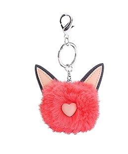 Finance Plan Lady Girl Cat Fluffy Ball Keychain Purse Bag Hanging Pendant Ornament Keyring (Orange)