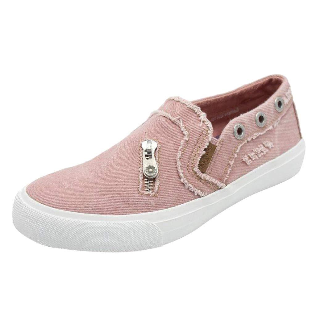 HIRIRI Women's Peas Shoes Summer Flat-Bottomed Casual Flat Shoes Slip-On Loafer Shoes Zipper Beach Shoes