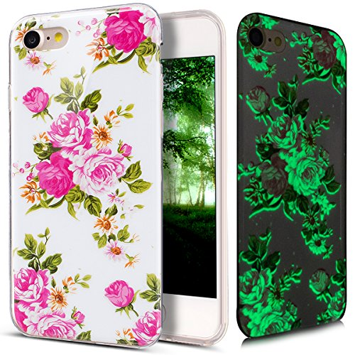 - iPhone 8 Case,iPhone 7 Case,ikasus Ultra Thin Soft TPU Case,Art Painted Luminous Series,Soft Silicone Rubber Bumper Case,Crystal Clear Soft Floral Silicone Back Cover for iPhone 8/7,Pink Peony
