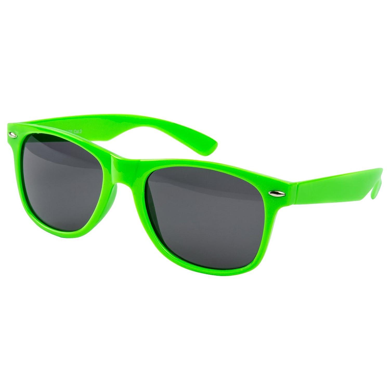 2 er Set EL-Sunprotect® Sonnenbrille Polarisierte Linsen Retro Vintage Style Nerd Look Stil Unisex Brille - Weiß Türkis + Schwarz Smoke Dunkle Glässer 8jeiD