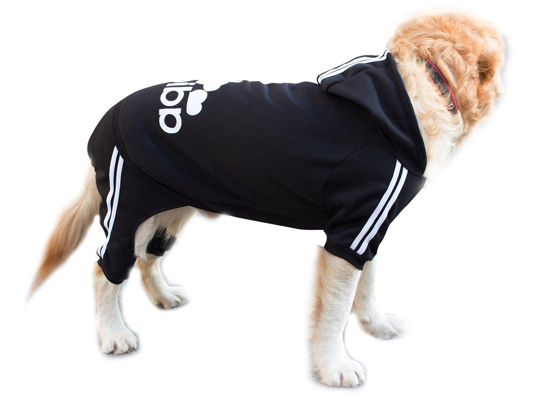 Scheppend Adidog Large Dog Hoodies Sweatshirt Pet Winter Coat Sports Clothes Apparel,Black 4XL