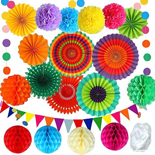 Homo Trends 21 piezas decoraciones de fiesta, coloridos abanicos de papel para colgar pompones, flores, banderines, cumpleanos, festivales, accesorios