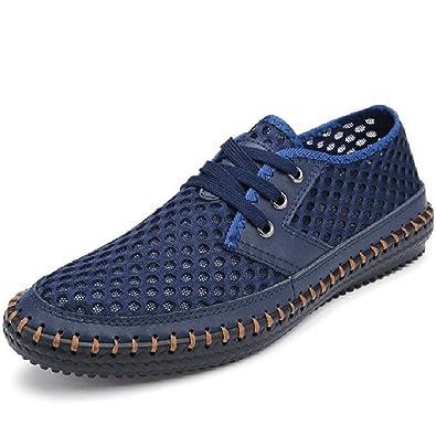 33d32956d572 Men Shoes Hollow Out Breathable Cowhide Slat Shoe Genuine Leather High  Quality Zapatos Hombre Male Casual