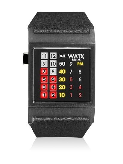 Watx RWA0854 - Reloj con correa de cuero para hombre, color negro/gris