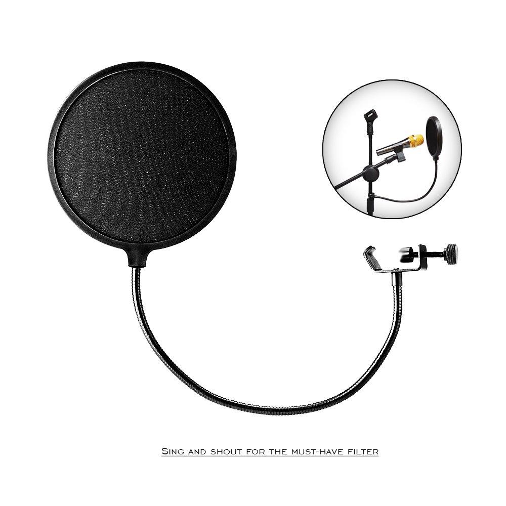 iNeith Micro Pivotant Pop Filtre Masque Shield avec Support Flexible à 360 ° CLIP col de Cygne Support de Fixation Mic Forme Ronde Vent Filtre Noir