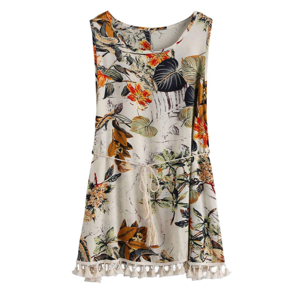 YAliDa 2019 clearance sale Women Summer Boho Printing Tassel Dress Casual Beach Dress Sundress L(Large,Multicolor)