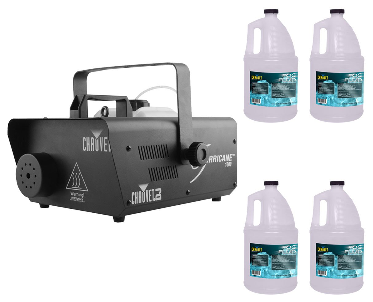 Chauvet H1600 Hurricane 1600 Fog Machine +4x Fog Fluid/Juice Gallon