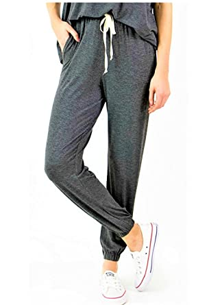 8ccc47da9 Grace and Lace Women's Grey Jogger Sweatpants Athleisure Cotton ...