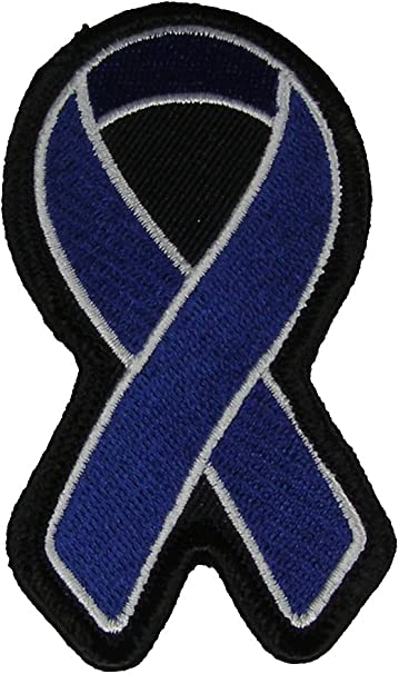 Amazon Com Dark Blue Ribbon For Colon Cancer Awareness Patch Dark Blue Veteran Owned Business Arts Crafts Sewing
