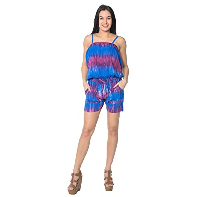 LA LEELA Women's Summer Loose Spaghetti Strap Short Jumpsuit at Women's Clothing store