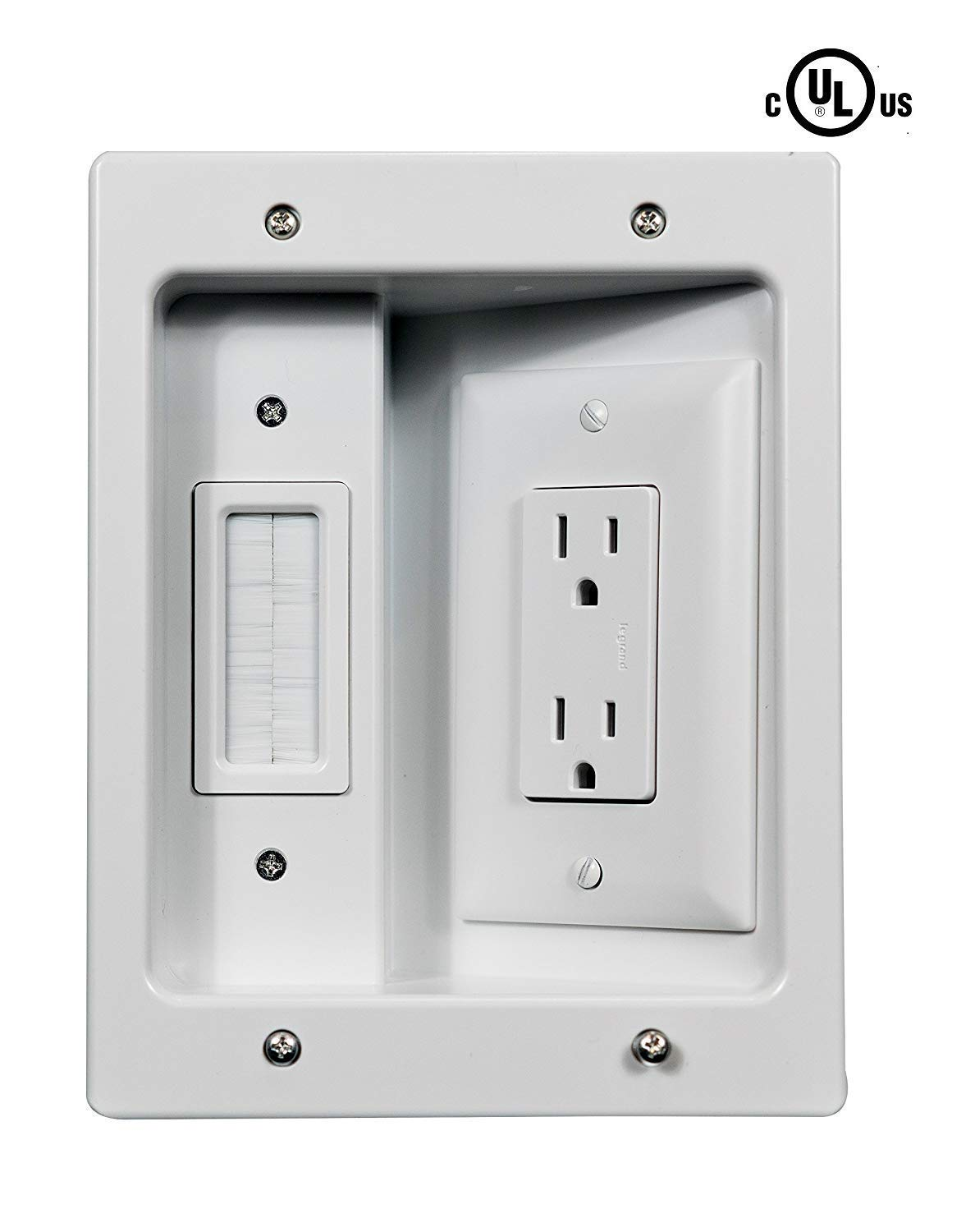 Legrand OnQ HT2102WHV1 Flat-Panel in-Wall Cable Management Connection Kit for TV Installation, White by Legrand-On-Q