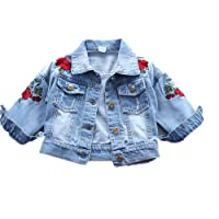 keemella Baby Girl's Denim Jacket With Rose Flower Embroidery Kids Toddler Ripped Denim Coat For Girl