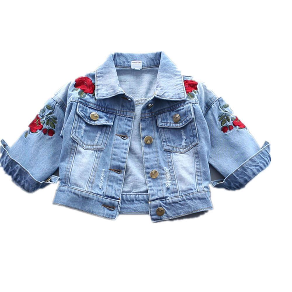 keemella Baby Girl's Denim Jacket With Rose Flower Embroidery Kids Toddler Ripped Denim Coat For Girl
