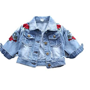 a528931bd Baby Girl's Denim Jacket With Rose Flower Embroidery,Toddler Ripped Denim  Coat For Girl (