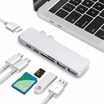 6 in1 USB Hub USB 3.1 Type C to USB 3.0 PD Adapter for MacBook Pro 13//15 Silver