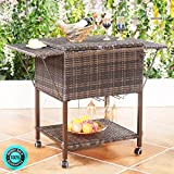 SKEMiDEX---Portable Rattan Cooler Cart Trolley Outdoor Patio Pool Party Ice Drink Mix Brown. Perfect For Deck, Pool Side, Backyard Or Other Outdoor Setting