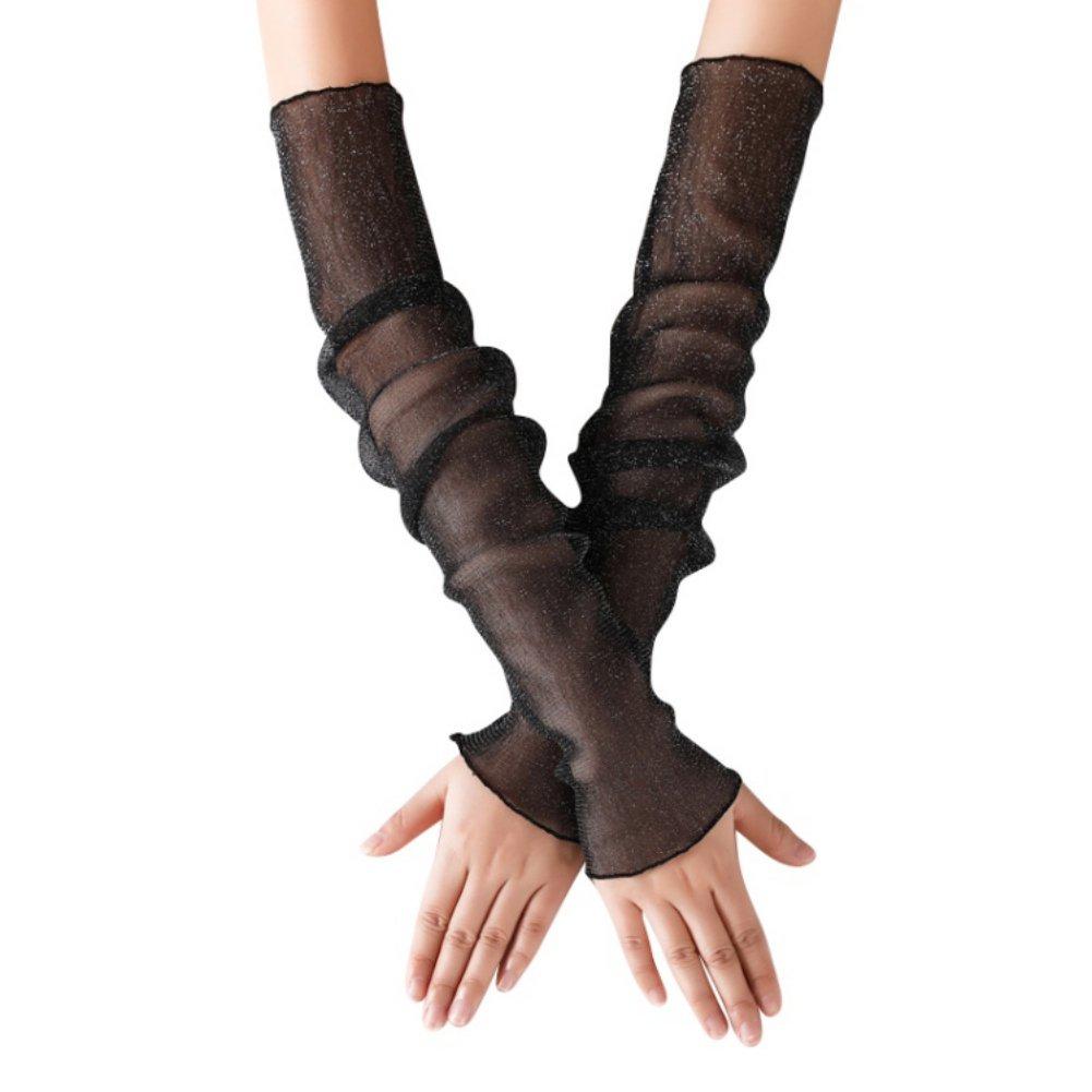 Women Ice Silk Cooling Arm Leg Cover Sleeves Summer Fingerless Glove Oversleeves