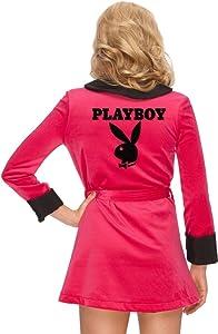 Secret Wishes Women's Playboy Girlfriend Robe, Pink, Small