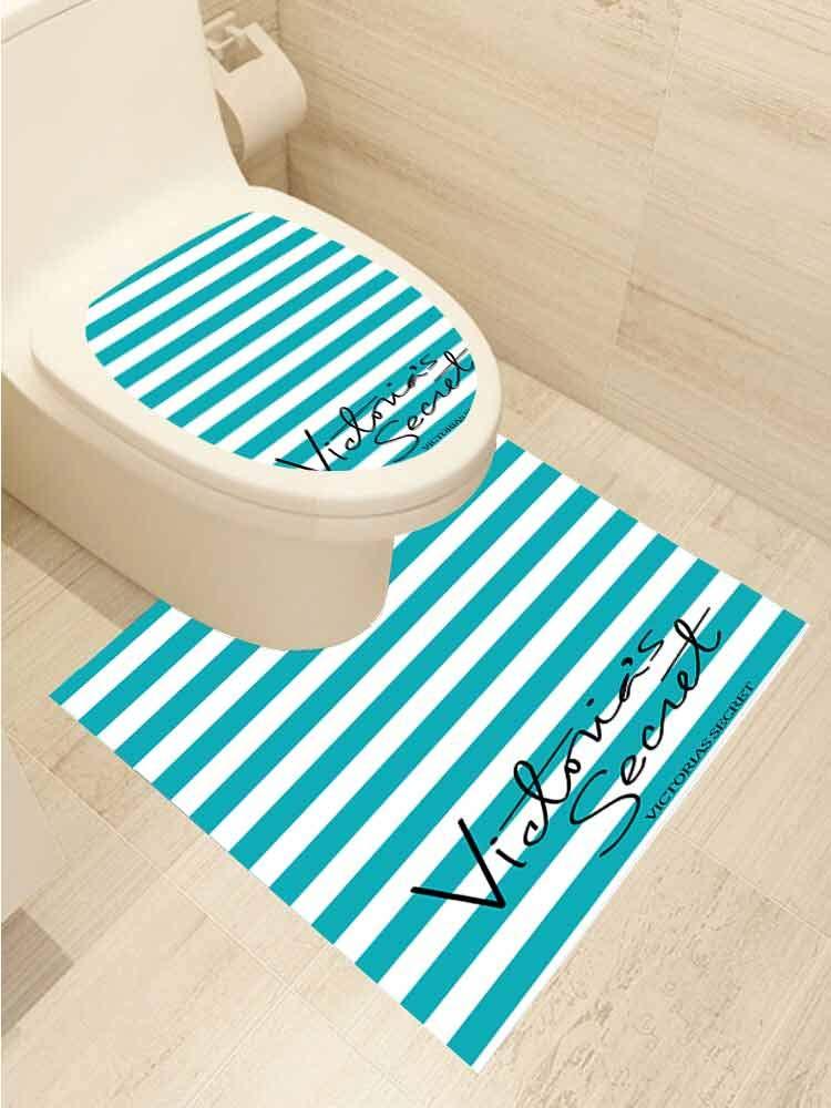 AuraiseHome Vinyl Carving Decal Victoria Secret Pink Pattern Toilet Seat Sticker Bathroom Decor Two-Piece Set
