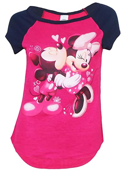 da24beaf6 Amazon.com: Disney Mickey Mouse and Minnie Mouse Kisses Tee Junior Girls  Fashion Top T Shirt: Clothing