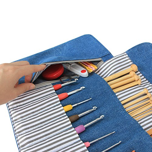 Luxja Knitting Needles Organizer, Rolling Bag for Knitting Needles (up to 10 Inches), Crochet Hooks and Accessories (No Accessories Included), Blue by LUXJA (Image #3)