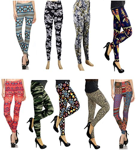 Wholesale-Lots-Leggings-for-Women-9-Pack-Aztec-Tribal-Print-Leggings-with-Patterned-Design