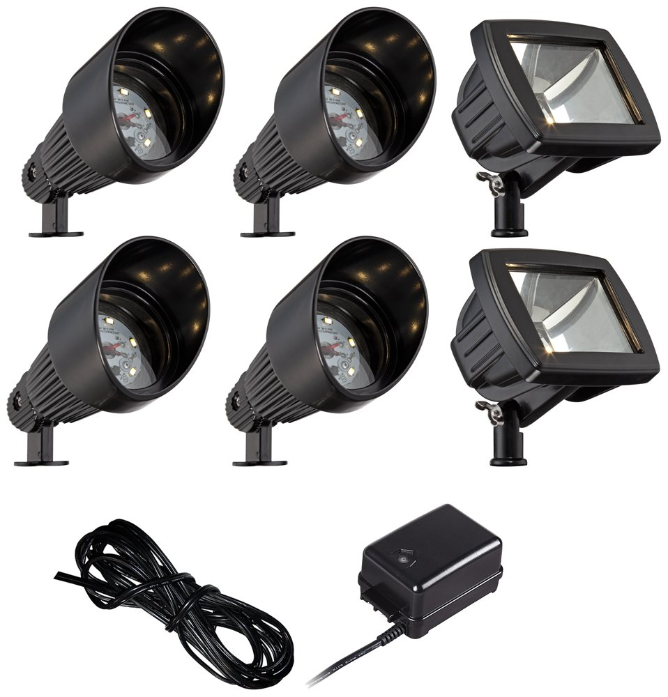 LED Bronze Spot and Path Light Landscape Kit in Black by John Timberland