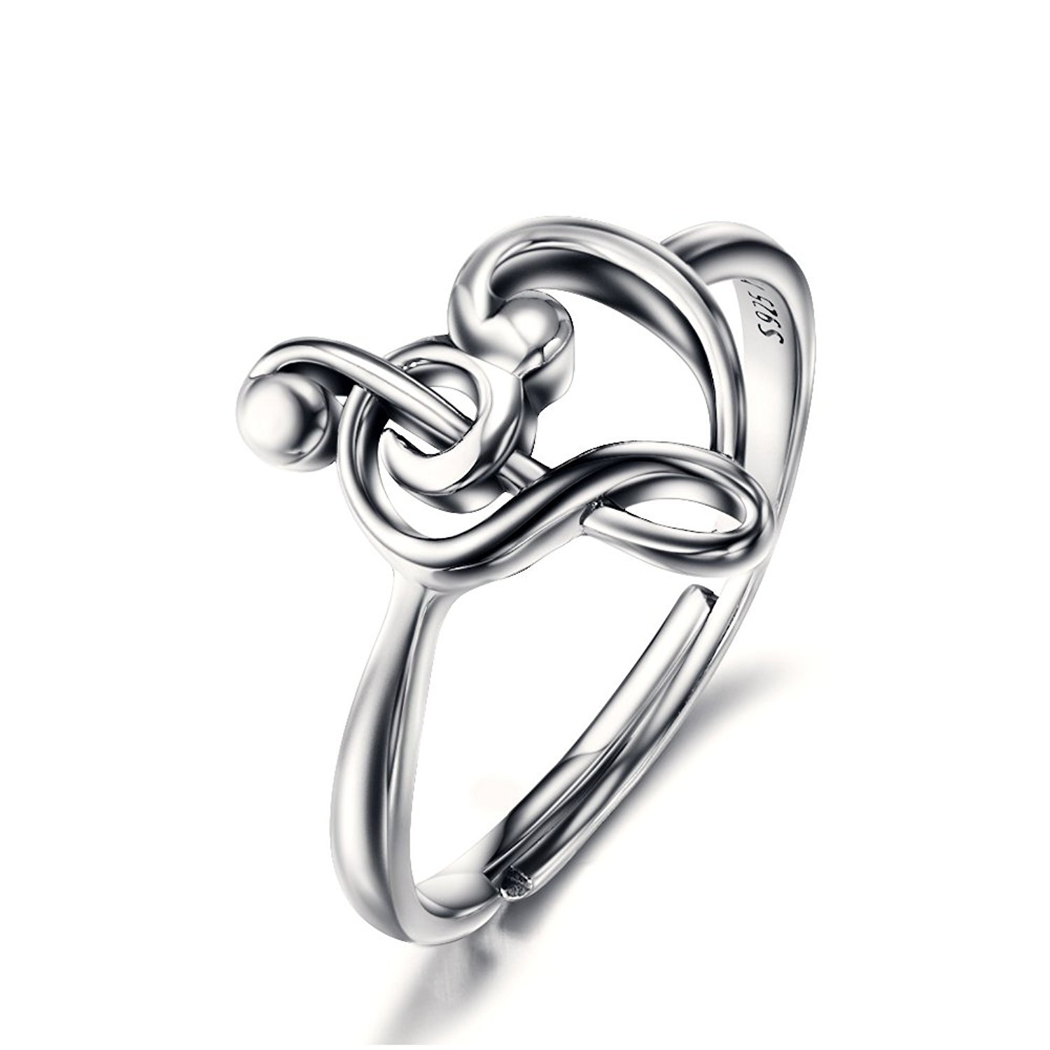 925 Sterling Silver Resizable Treble Clef Bass Heart Music Note Ring For Women (USA Size 7-9)