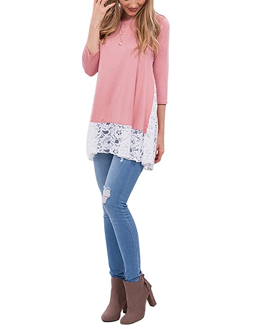 a480e2c6e70b Sanifer Women s Lace Splicing 3 4 Sleeve Scoop Neck Tunic Tops Long Shirts  Blouses for Leggings at Amazon Women s Clothing store